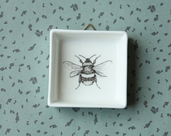 Mini ceramic painting Bumblebee, Screenprint, black and white, wall art, nature print, wall decor