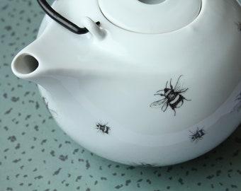 Tea pot Bumblebee, Screenprint, black and white, tea tableware, nature print, tableware