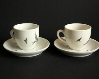 Espresso cups (Set of 2) Swallows, Screenprint, black and white, espresso tableware, nature print, tableware