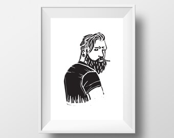 Hipster linocut A5 print, black and white, wall art, hipster print, wall decor