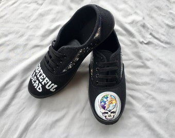 0f4df8c25634 Grateful Dead INSPIRED Shoes - Custom Acrylic Painted Shoes - Deadhead The  Dead Inspired Custom Lace Up Shoes SIZE 8