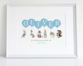 Personalised New Baby Boy/Girl Peter Rabbit Beatrix Potter Nursery Birth Name Print Keepsake Picture Christening Gift