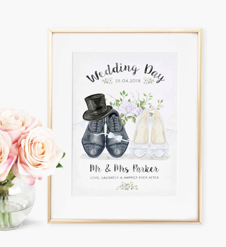 Custom Unique Wedding Day Memories Wall Art Keepsake Gifts New Mr /& Mrs Surname Print Wife Husband Groom PERSONALISED And They Lived Happily Ever After Wedding Gifts for the Bride