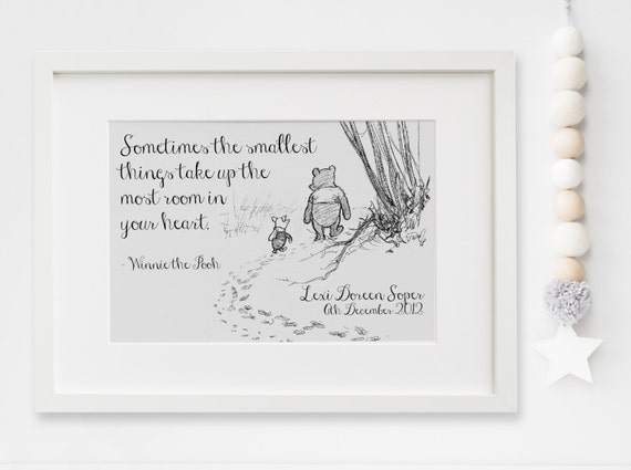 Personalised New Baby Boygirl Winnie The Pooh Quote Nursery Etsy