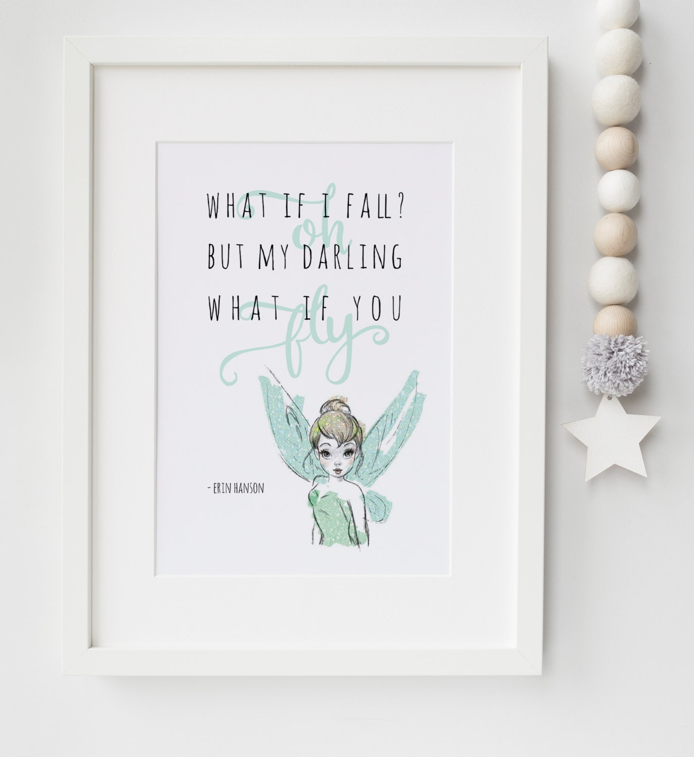 Tinkerbell New Baby/Child Boy/Girl Nursery Quote Erin Hanson Print ...