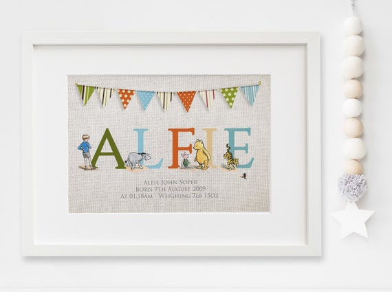 Winnie the pooh lexis little prints gift 959 personalised new babychild boygirl winnie the pooh quote nursery birth name print negle Images