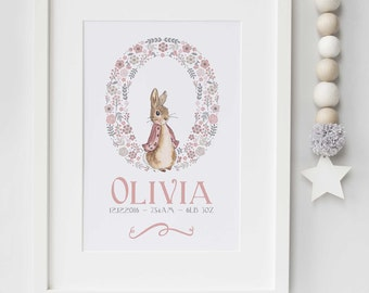 Personalised New Baby Boy/Girl Peter Rabbit Nursery Birth Name Print Keepsake Picture Christening Gift UNFRAMED