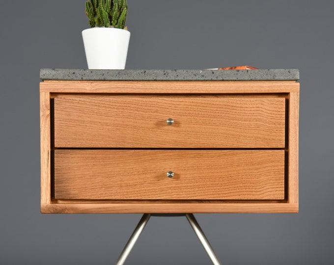 Mid Century modern Nightstand with two drawer in old chestnut  with stone top of the ETNA volcano
