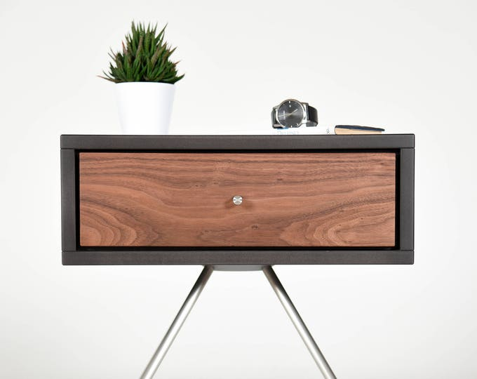 Unique Bedroom Nightstand / Mid Century Nightstand with drawer in Walnut /  Modern Side table handmade furniture