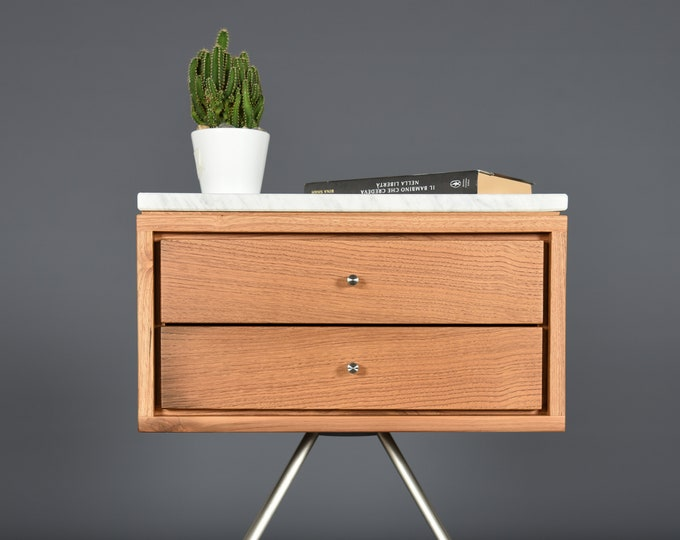 Mid Century Nightstand with two Drawer in old wood and Carrara marble top / Handmade bedroom furniture