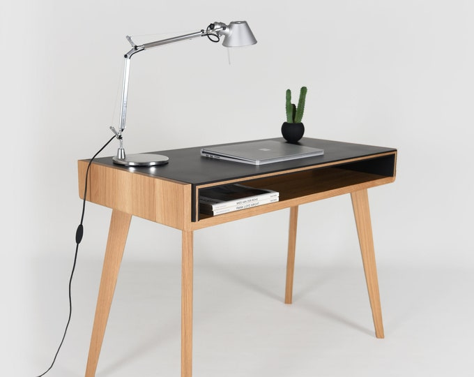 small black desk in mid-century solid oak