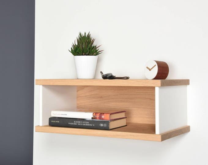 Floating bedside tables in oak and Corian / Bedside suspended in Mid-Century / Modern floating nightstand in solid wood handmade / Furniture