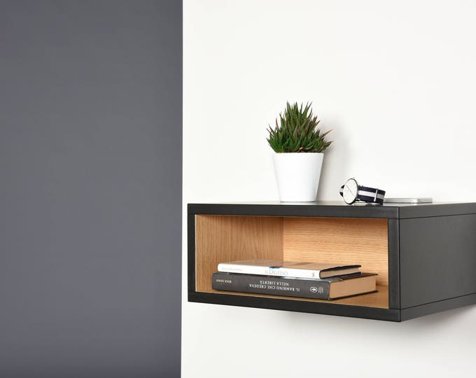 Open floating bedside table in black and oak