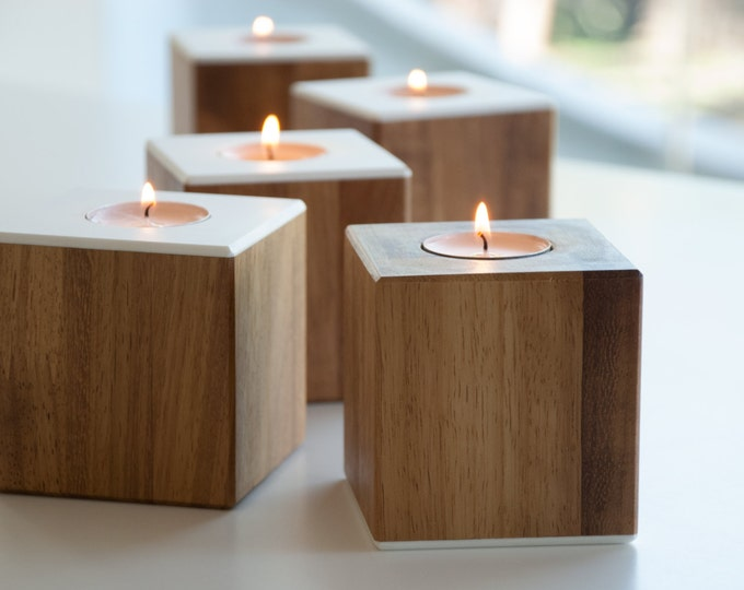 Decorative tealight candles Wedding gift ideas Home decoration / Wooden candle holders / Coffee table candles / mid century candlestick