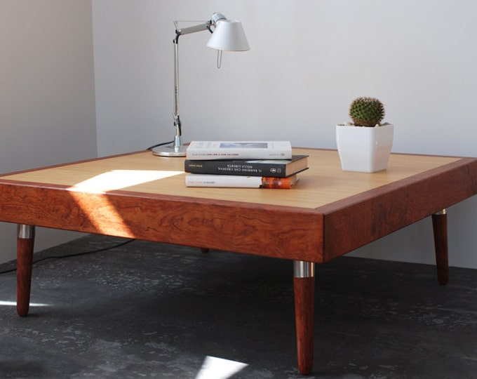 Modern Mid Century coffee table in fine wood from Bubinga and Bamboo
