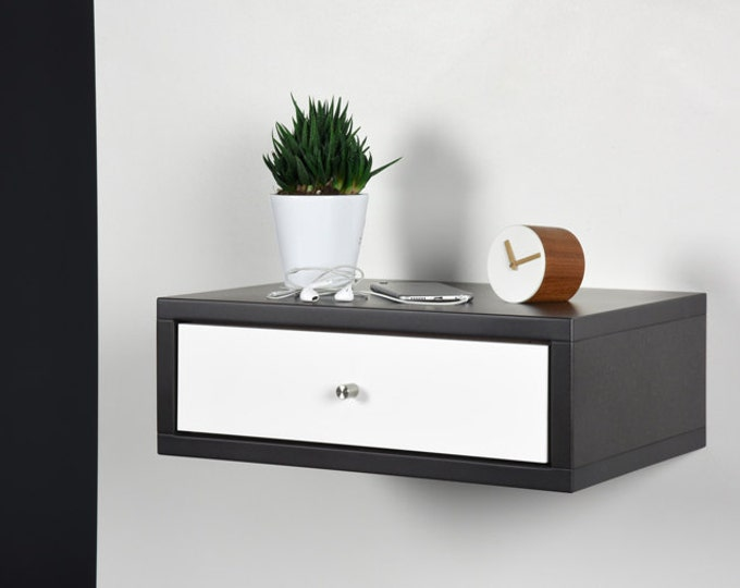 Floating Nightstand with drawer in gray Valcromat and white drawer in Corian