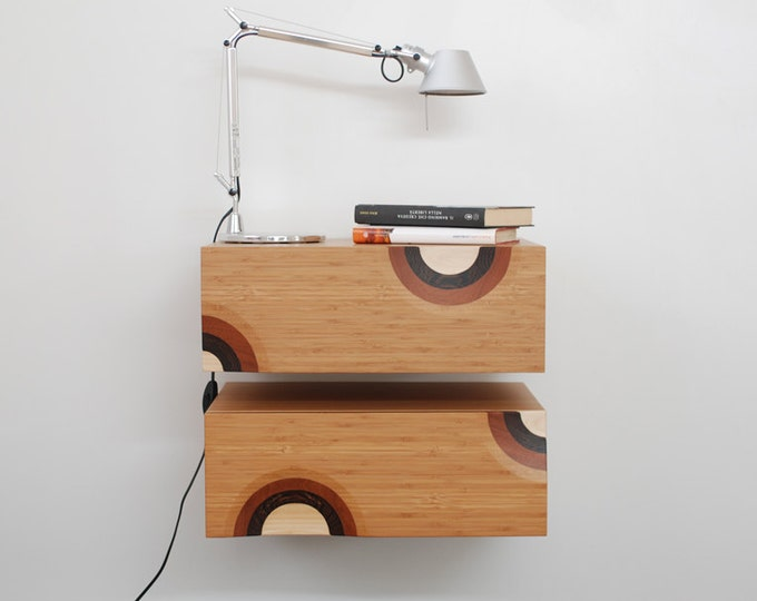 Mid-Century modern floating bedside tables with inlaid drawers / Scandinavian style wall consoles