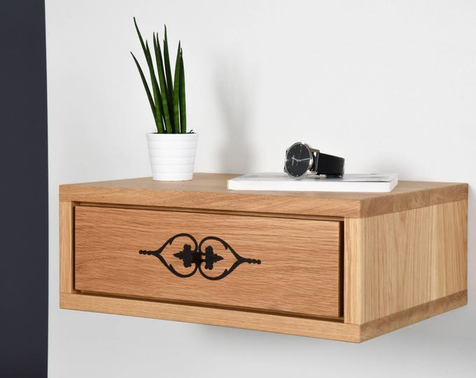 floating bedside table in solid oak with handmade inlay