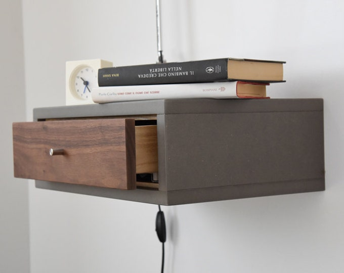 Floating Nightstand with Drawer in Walnut scandinavian design / Mid Century Modern Bedside Table