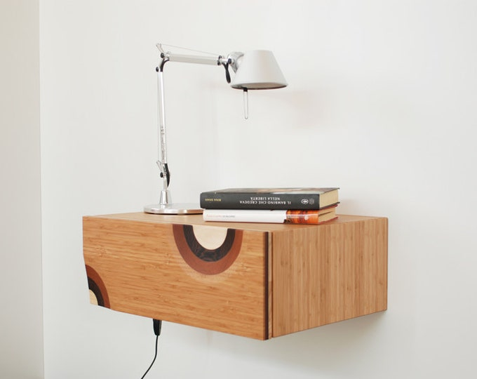 Floating bedside table with 1 drawer in Bamboo wood handmade in Italy