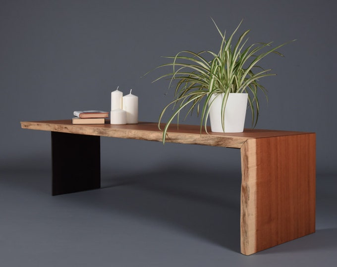 Modern solid wood coffee table by Doussiè Africa / Mid Century wooden bench
