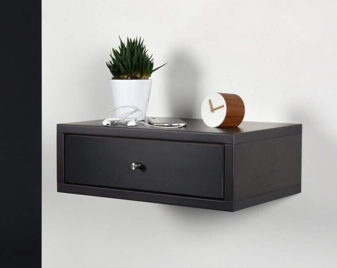 Floating nightstand with drawer / Modern gray stone nightstand/ Modern bedside / Wood side table / Stone gray console midcentury