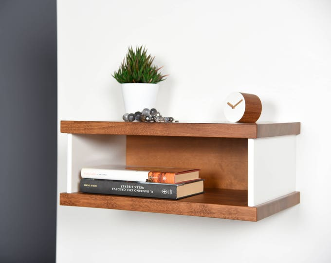 Modern Floating bedside table in Iroko and Corian / Entryway suspended Mid-Century