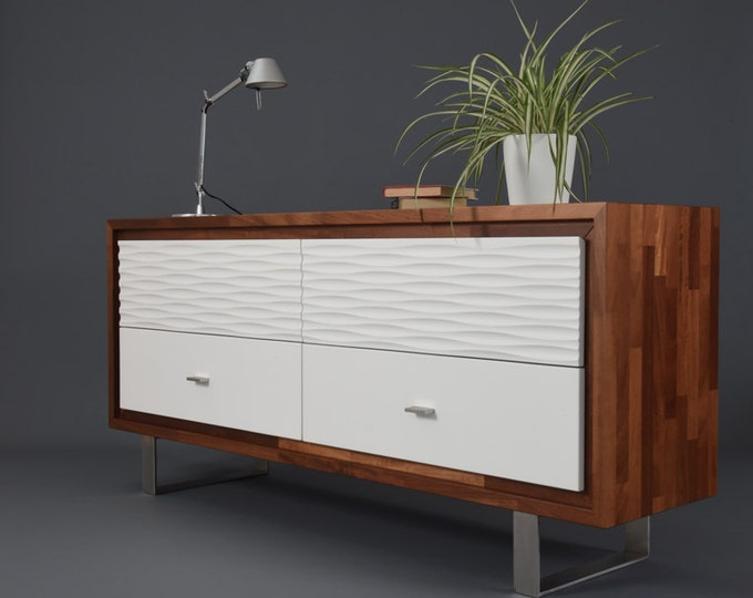 Cupboard / Iroko solid wood sideboard with 4 large white decorated drawers and steel legs / Sideboard handmade in Italy
