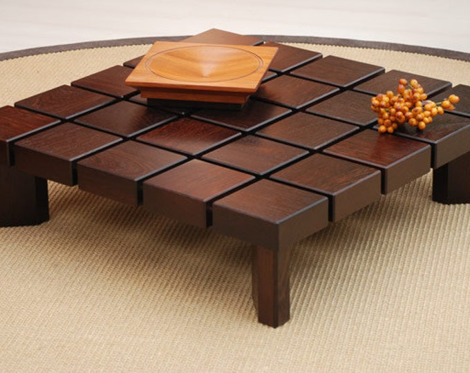 modern midcentury square wooden coffee table/wooden low design table