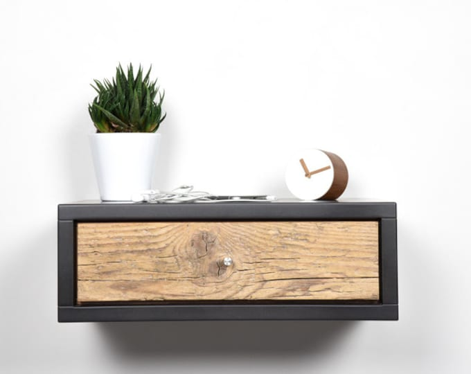 Floating nightstand gray stone with drawer in old wood scandinavian design