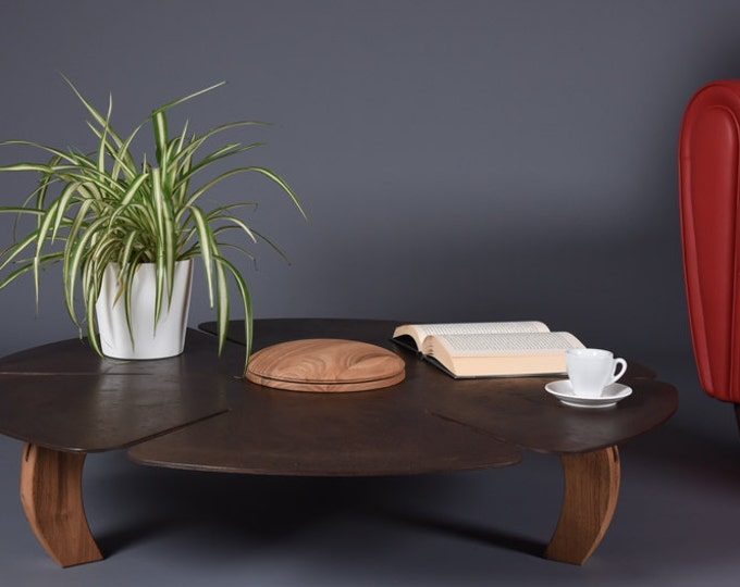 Coffee Table Mid Century Industrial round in Cor-Ten