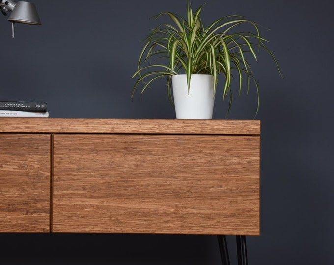 industrial chest of drawers with large bamboo drawers and iron legs