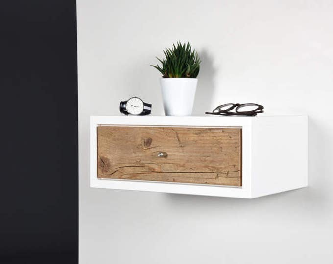 White Floating nightstand bedside table drawer in solid old wood mid century modern / Floating small white side table with drawer