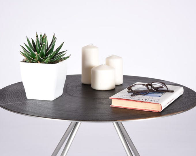 Round coffee table / Small side table mid century style / End table in Iron and Oak smoked / Bedside table / Modern table for sofas