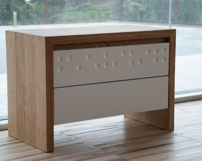 Mid century bedside table in solid oak and white with two decorated drawers