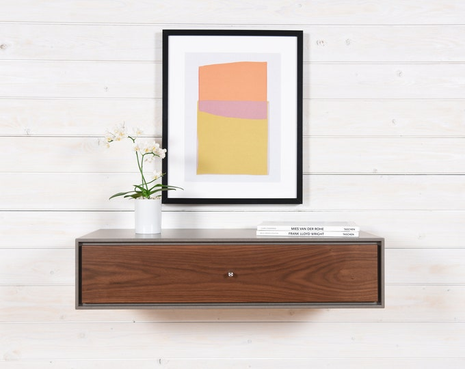 floating console in concrete gray with 1 drawer in walnut wood