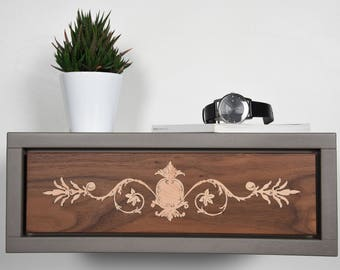 Floating bedside table drawer in solid Walnut and gray stone Valcromat mid century modern / Floating console