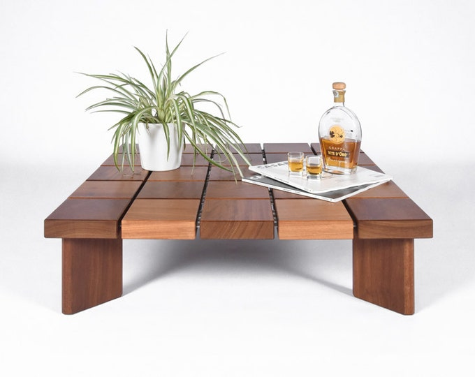 Low square coffee table in solid Iroko wood