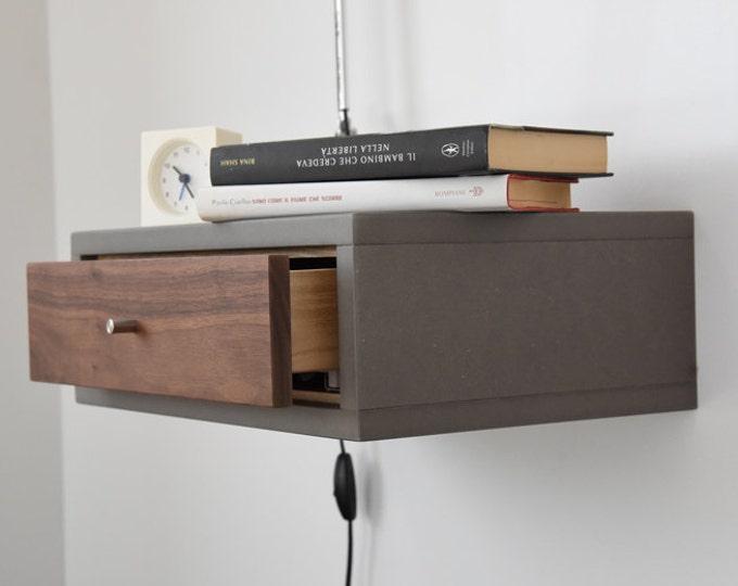 concrete gray Floating Nightstand with Drawer in Walnut scandinavian design