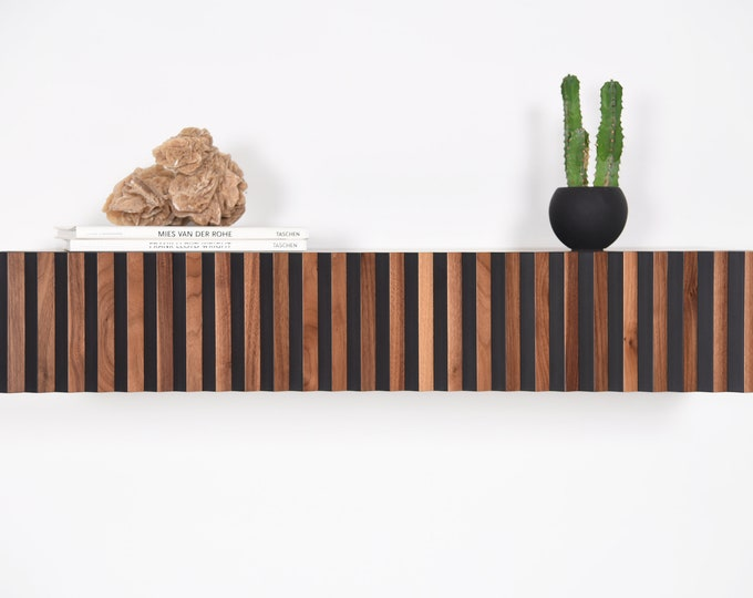 floating console in walnut and black with 1 drawer, modern entryway