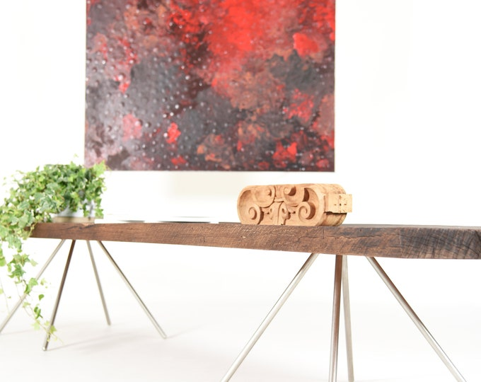 rustic console table midcentury / tv stand in antique wood