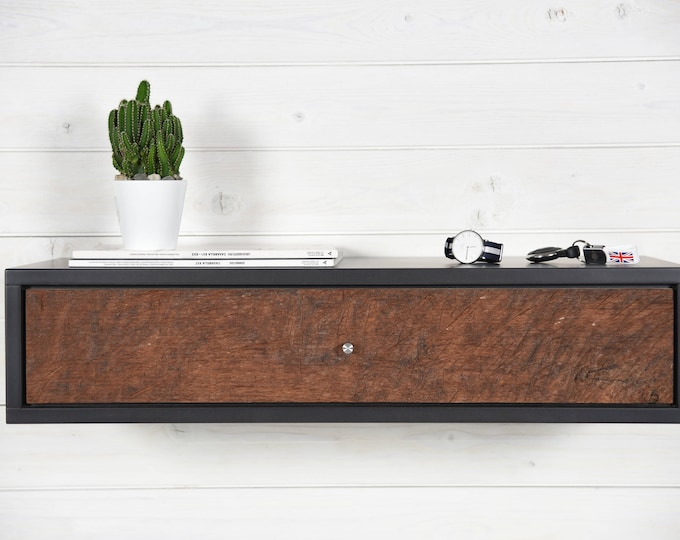 floating console in stone gray with 1 drawer in antique wood