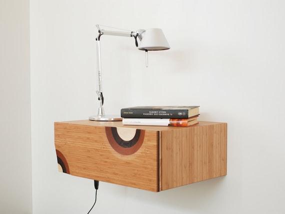 table de chevet mural avec mur de table 1 tiroir bambou. Black Bedroom Furniture Sets. Home Design Ideas