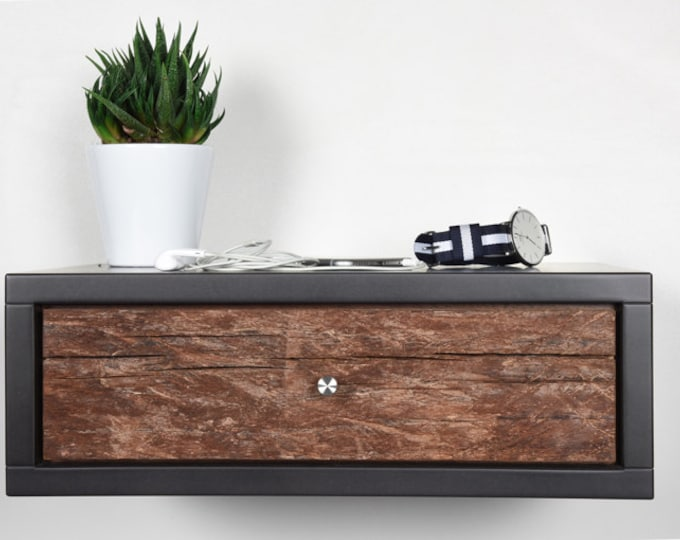 stone gray floating bedside table with 1 drawer in old wood / Modern floating console in mid-century style
