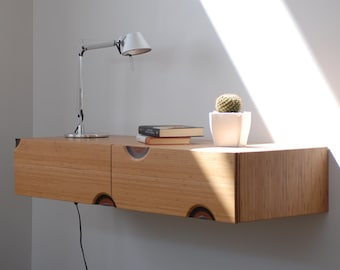 Floating entryway / Bamboo floating Console Hallway table entryway / Console table with drawers - entryway/ hallway console - modern design