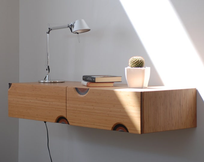 Floating entryway console in bamboo with 2 carved drawers