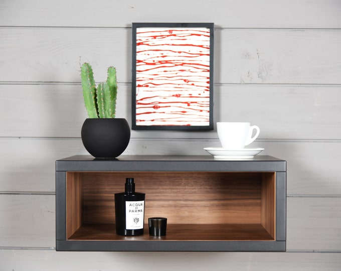 black end walnut floating nightstand / entryway console