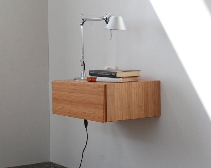 Floating Bedside Table in solid bamboo with 1 drawer / Floating bedside in Mid-Century Style