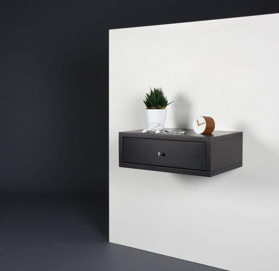 reputable site dc700 f2b38 Floating nightstand with drawer / Modern gray stone nightstand/ Modern  bedside / Wood side table / Stone gray console midcentury