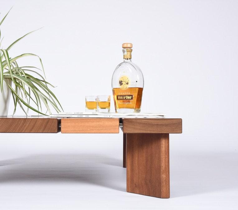 Handmade Mid Century Coffee Table: Mid Century Coffee Table In Iroko Solid Wood / Modern